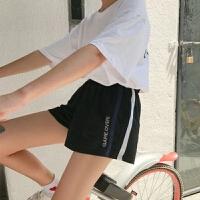 韩版休闲跑步运动短裤女夏季新款百搭宽松学生高腰大码胖MM黑