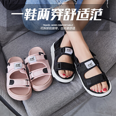 ZHR2018夏季新款韩版平底运动凉鞋厚底鞋子松糕一字扣带学生女鞋AQ03