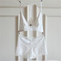 欧美少女文胸套装款性感蕾丝 前扣美背无钢圈露背深V内衣夏季