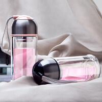 物生物水杯COCO双层防烫玻璃杯男女创意带盖便携过滤花茶杯子210ML/280ML