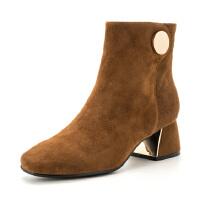 星期六(ST&SAT)专柜同款绒面羊皮革粗跟时尚短靴SS74116614