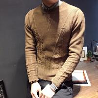 新款秋冬男士圆领毛衣韩版修身扭花打底针织衫时尚个性弹力毛线衫