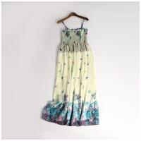 波西米亚风夏季新款女装精美碎花吊带雪纺连衣裙长裙DY