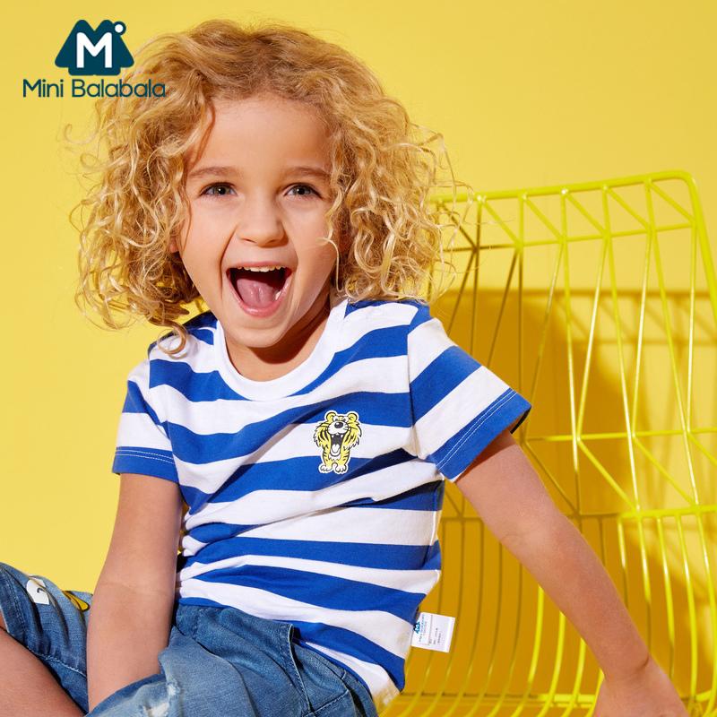【3折价:18】迷你巴拉巴拉男童短袖T恤儿童夏装男宝宝童装条纹上衣纯棉体恤