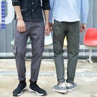 工装裤男潮牌宽松多口袋长裤日系街头黑色休闲裤百搭青年直筒裤