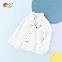 贝贝怡男童纯棉上衣白衬衫新款绅士小熊印花宝宝洋气外穿上衣