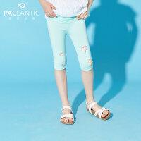 派克兰帝童装女童分裤夏季新款女童卡通图案七分打底裤子