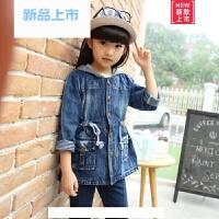 女童牛仔外套2018新款春秋装韩版中大童儿童时髦连帽长袖短款上衣