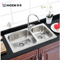 MOEN/摩恩 优质304不锈钢双槽厨房水槽套装 28104SLS 净铅厨房水龙头