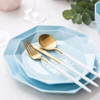 创意陶瓷盘子果盘牛排西餐盘点心盘家用糖果色中餐盘