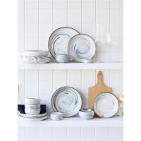北欧风金边大理石家用碗碟套装陶瓷餐具套装盘子碗饭碗套碗