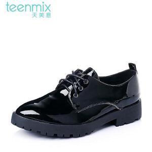 Teenmix/天美意春专柜同款漆皮牛皮厚底方跟女单鞋6WW21AM6