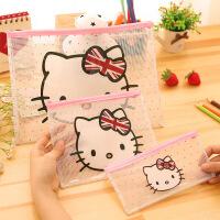韩版文具可爱猫咪拉链透明文件袋 卡通笔袋 票据夹 办公用品