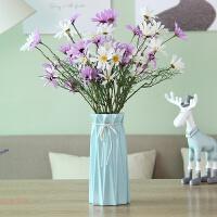 创意时尚小清新落地客厅摆件家居装饰品陶瓷干花花器假花花瓶花艺 +荷兰菊5白5紫红