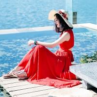 连衣裙女士夏季新款红色雪纺裙子大裙摆波西米亚长裙海边度假沙滩裙 图片色 AQD112