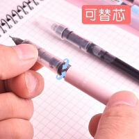 中性笔考试笔中性笔签字笔文具用品x88针管型直液可换笔芯水性笔芯笔芯0.38mm直液式走珠笔白雪笔彩色