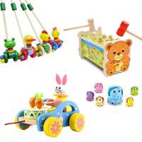 学步车手推车木制 木质卡通动物推推乐婴幼儿童单杆学步车手推车 宝宝走路玩具1周岁