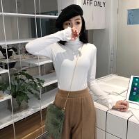 韩版春装女装木耳边长袖t恤复古港味chic风修身显瘦打底衫上衣女