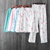 家居服女装春装柔软舒适保暖不掉绒舒适法兰绒两件套睡衣睡裤套装