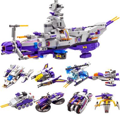 启蒙星际战舰模型八合一 乐高式积木拼装军事儿童玩具男孩6-8-10-12岁益智玩具限时钜惠