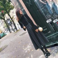 2018春装新款毛衣背带裙两件套秋冬季毛呢连衣裙小香风套装裙子女 黑色