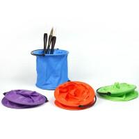 美术小水桶折叠伸缩袋隔断水桶写生画画美术用硅胶水桶洗笔筒单个水彩素描用水桶 颜色随机发
