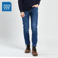 [限时抢:110元,真维斯狂欢再续10.18-21]真维斯牛仔裤男冬装新款时尚韩版弹力加绒加厚休闲牛仔长裤潮