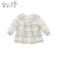 davebella戴维贝拉2018春季新款衬衫女宝宝黄白格纯棉衬衫DBA6620
