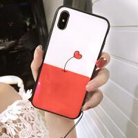 钢化玻璃爱心苹果x手机壳7plus挂绳iphone8硅胶潮牌韩国6s新款女