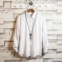 男士大码长袖衬衫春秋季纯色修身2018新款新郎伴郎潮流衬衣男上衣