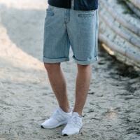 NOTHOMME日系潮牌男士牛仔短裤浅蓝色水洗卷裤脚复古工装裤原宿风