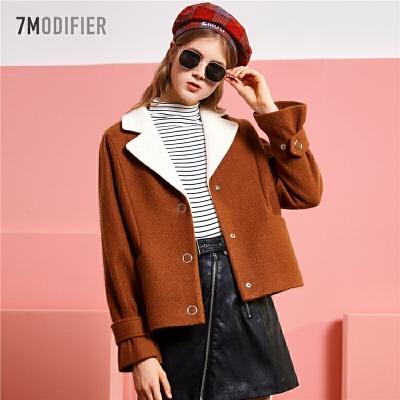 【满300减30】拉夏贝尔森系毛呢外套女短款学生韩版女士新款流行呢子大衣女装妮子潮
