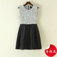 连衣裙女装夏无袖中小清新显瘦裙子新黑白裙