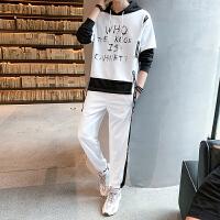 卫衣男潮流韩版青年帅气拼色运动套装秋季潮牌学生宽松休闲两件套
