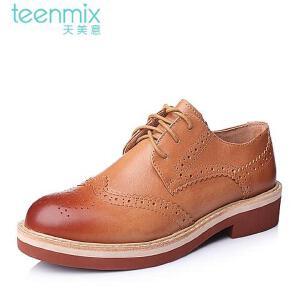 Teenmix/天美意专柜同款牛皮复古时尚女单鞋6ZN20CM5