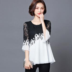 安妮纯2019春夏装新款韩版大码女装显瘦蕾丝衫雪纺衫胖mm喇叭袖上衣小衫