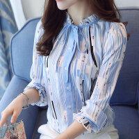 衬衫女长袖2018春装新款韩版系带木耳边条纹印花雪纺衫打底衫上衣