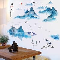 创意中国风水墨装饰贴画客厅沙发背景墙贴纸卧室美化贴蓝色山水画