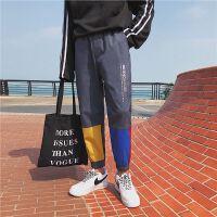 撞色拼接英伦嘻哈街舞运动大码长裤修身九分裤男裤子757555