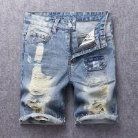 男士牛仔短裤破洞乞丐割烂破边五分裤潮流多口袋中裤
