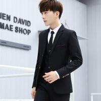 秋季男士西服套装三件套青少年休闲小西装韩版修身帅气正装外套潮