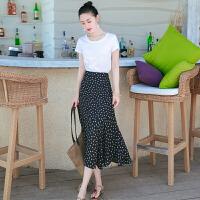 夏季新品女装两件套裙子短袖中长裙雪纺连衣裙海边度假沙滩裙 图片色XZB675