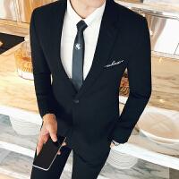 新品18秋冬男士韩版修身单排扣西服套装潮流青年西装裤子马甲三件