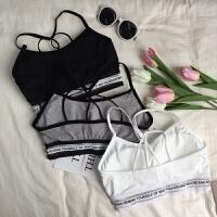 夏季新款女装美背字母吊带抹胸少女打底内衣短款瑜伽运动背心文胸 均码