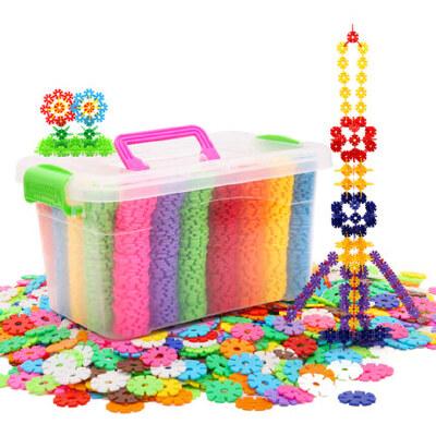 雪花片加厚大号儿童积木塑料益智力女孩男孩拼插拼装玩具 无味无毒国家3C认证 收纳盒装