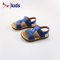 红蜻蜓男童凉鞋夏季新品真皮沙滩鞋磨砂舒适儿童鞋中大童防滑鞋子