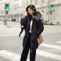 羽绒服女中长款2018韩版宽松时尚面包服轻薄大毛领冬装外套潮