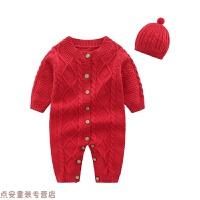 冬季宝宝红色百天百岁周岁礼服男女新生儿中国风婴儿连体毛线衣服拜年秋冬新款