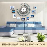 钟表挂钟客厅现代简约时尚欧式创意装饰孔雀石英钟卧室静音夜光大 20英寸(直径50.5厘米)