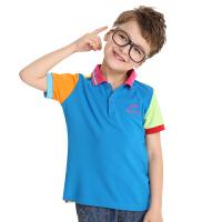 【三件99元】渔民部落户外童装夏季儿童速干t恤短袖男童女童舒适透气立领polo衫  862111